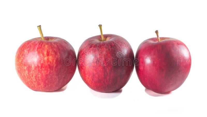 Tre mele rosse fresche mature che stanno sul fondo bianco fotografia stock libera da diritti