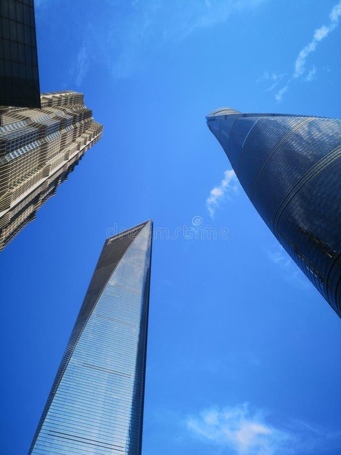 Tre mest högväxta byggnader i Shanghai! 上海, för ¼ för 座大厦ï för ‰ för ä¸ för 最锘的 royaltyfria bilder
