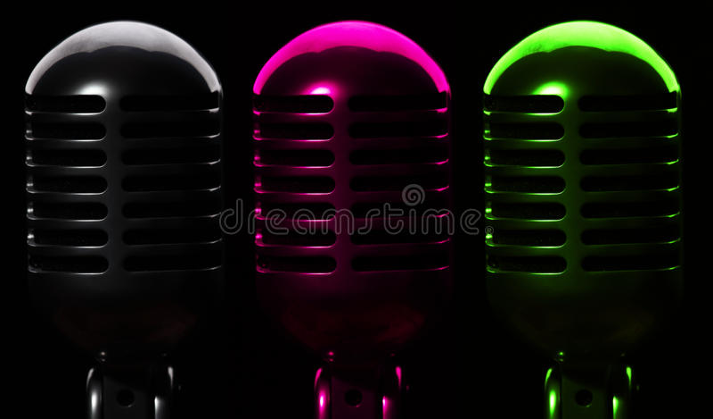 Tre microfoni immagine stock libera da diritti