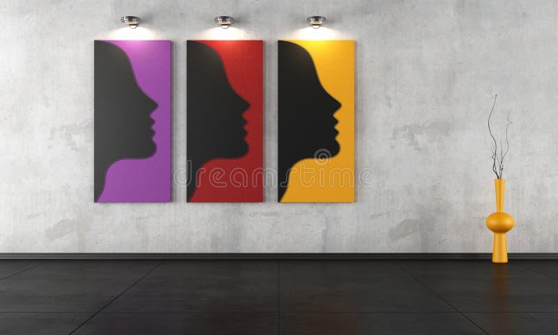 Tre moderna målningar i ett tomt rum stock illustrationer