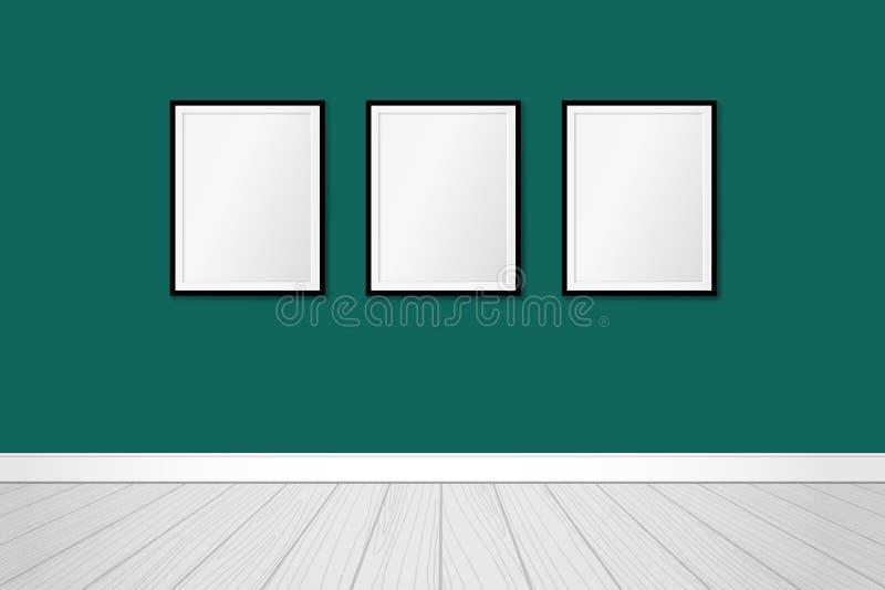 Tre moderna ramar på en vägg för smaragdgräsplan Vektor?tl?je upp samtida designinterior stock illustrationer