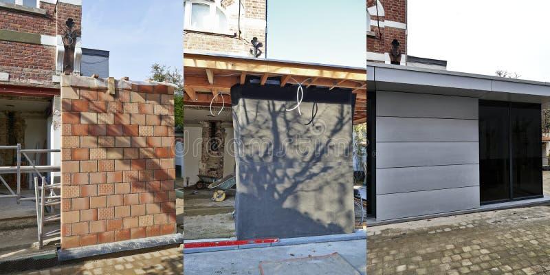 Tre moment av konstruktion - ny modern förlängning av ett hus arkivfoton