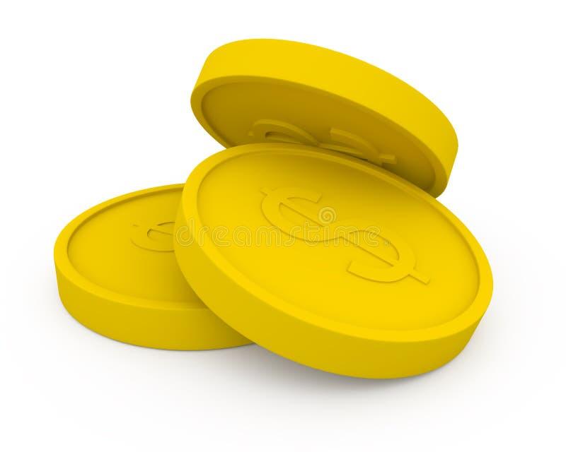 Tre monete dorate nello stile del fumetto illustrazione vettoriale