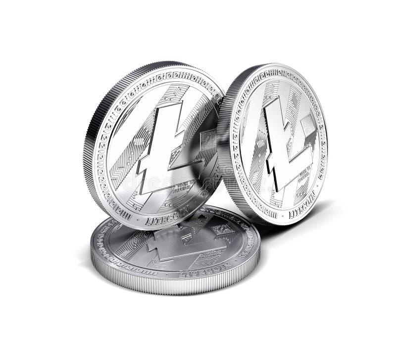Tre monete fisiche di concetto di Litecoin LTC hanno separato su fondo bianco illustrazione vettoriale