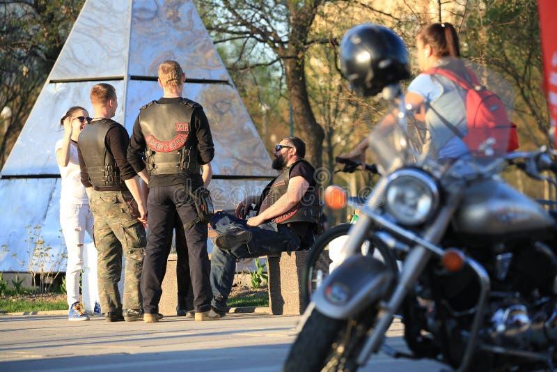 Tre motociclisti e una donna comunicare a vicenda su una sera soleggiata E fotografia stock libera da diritti