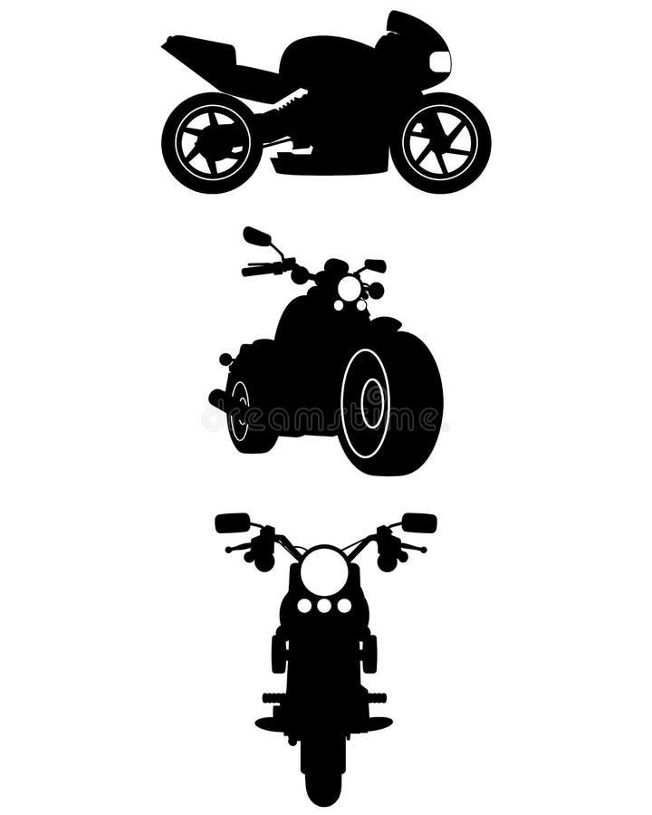 Tre motorcykelkonturer vektor illustrationer