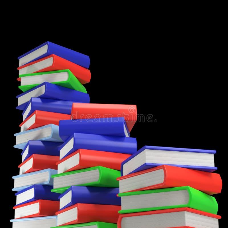 Tre mucchi dei libri colorati multi io su fondo nero vuoto fotografie stock libere da diritti