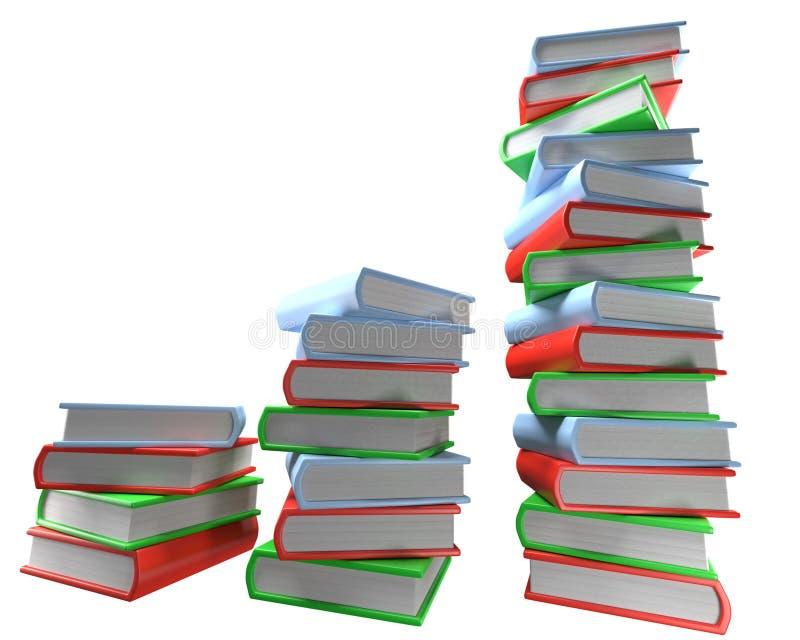 Tre mucchi dei libri colorati multi su fondo bianco vuoto fotografie stock libere da diritti