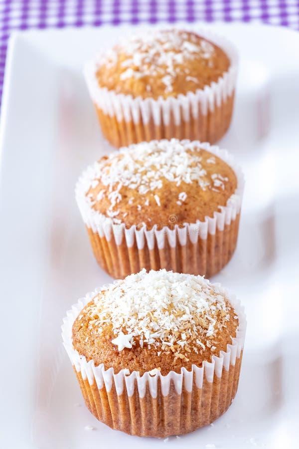 Tre muffin casalinghi con la noce di cocco spolverizzano il fondo bianco del piatto Concetto sano di cibo fotografia stock