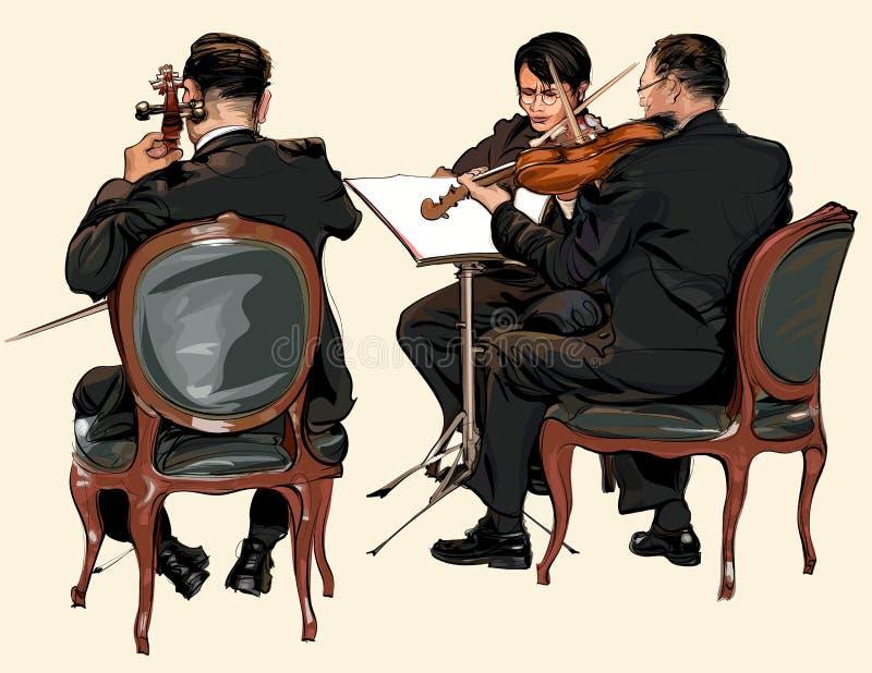 Tre musiker av klassisk orkester vektor illustrationer