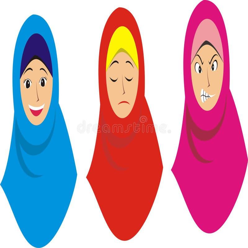 Tre muslimska flickor i olika uttryck stock illustrationer