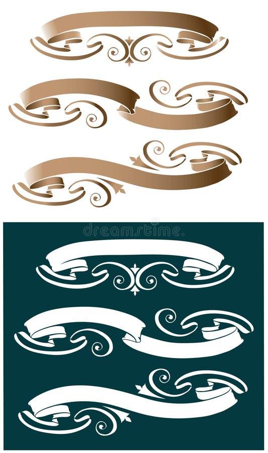 Tre nastri di rotolo illustrazione di stock