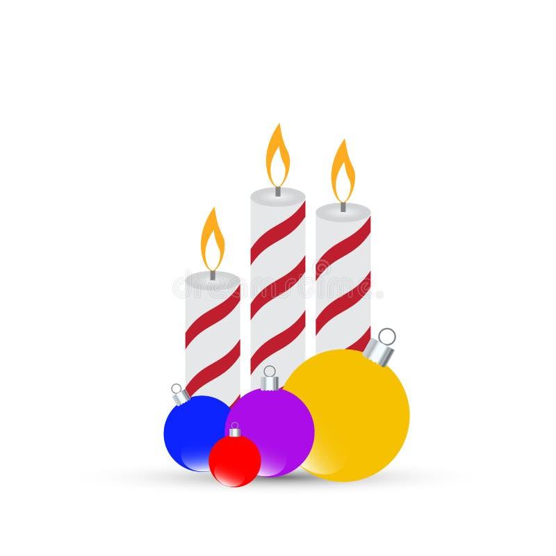 Tre Natali che bruciano le candele con le palle su un fondo bianco Illustrazione di vettore illustrazione vettoriale