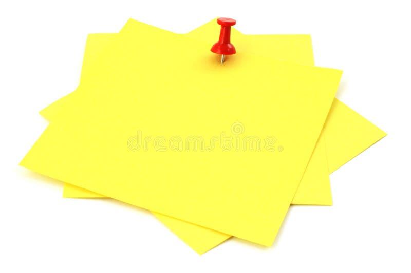 Tre note appiccicose gialle fotografia stock