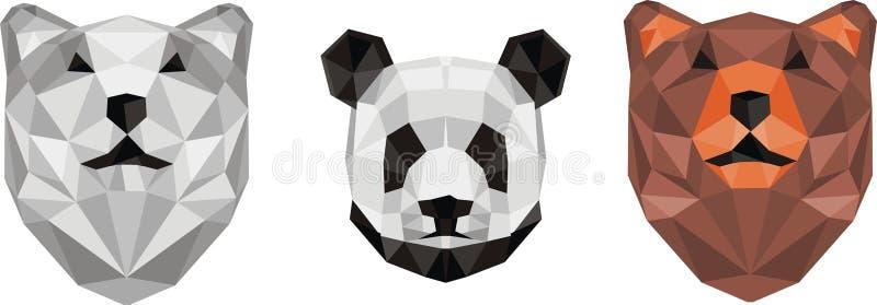 Tre olika björnar stock illustrationer