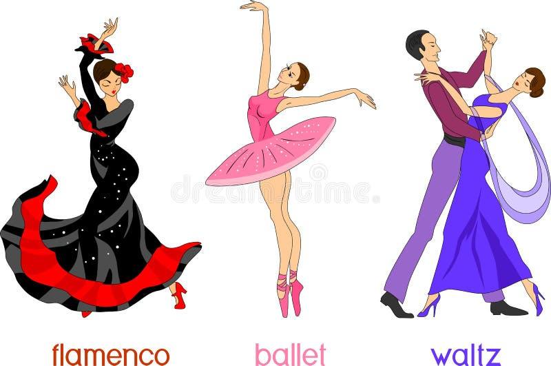 Tre olika dansstilar i tecknad filmstil stock illustrationer