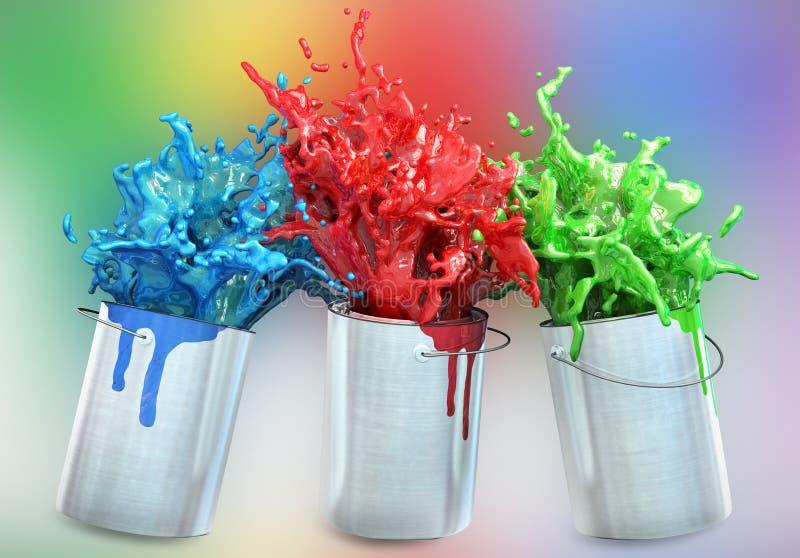 Tre olika färger som plaskar från målarfärghinkar stock illustrationer