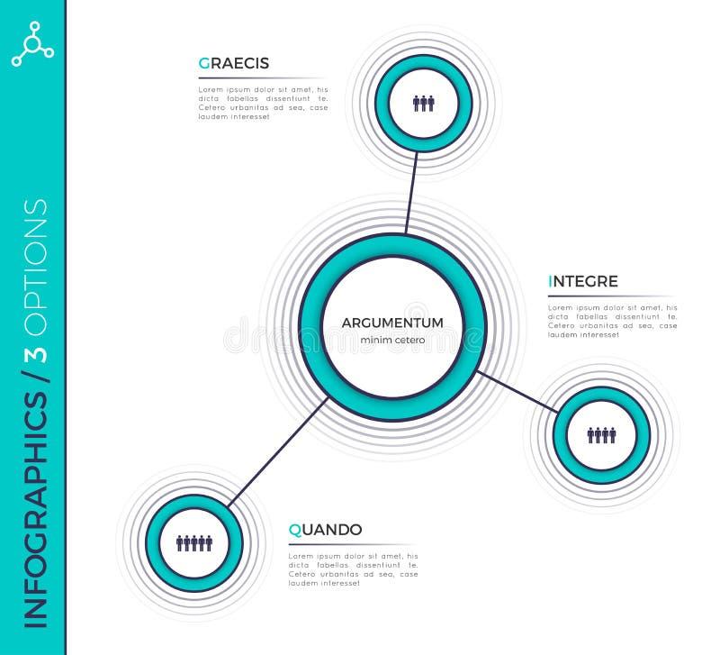 Tre opzioni grafico infographic creativo minimalistic, schema, d illustrazione di stock
