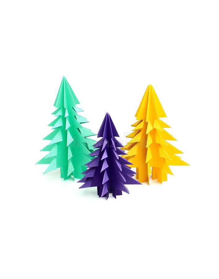 Tre origamijulgranar royaltyfri foto