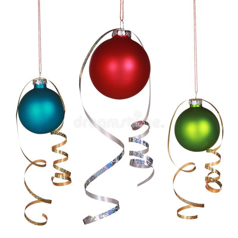 Tre ornamenti di natale fotografia stock