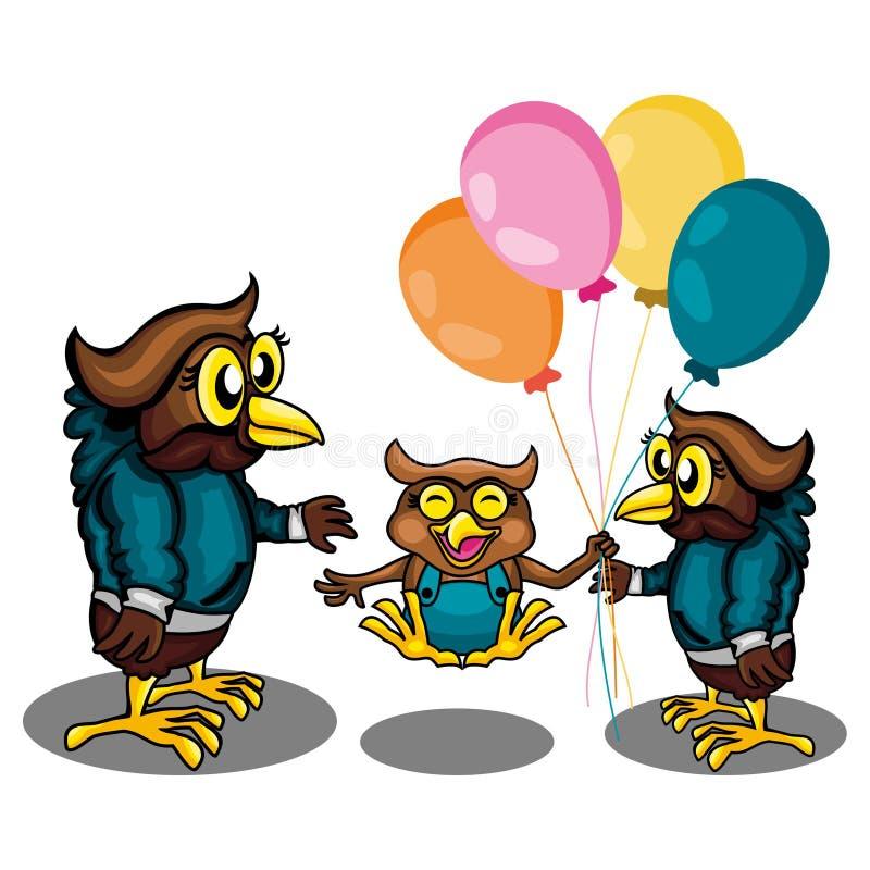 Tre Owl Get Play Togather royaltyfri illustrationer