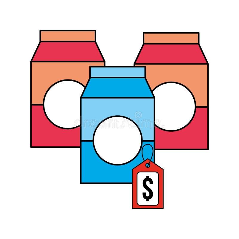 Tre pacchetti etichettano il supermercato dei prodotti dei prezzi illustrazione di stock