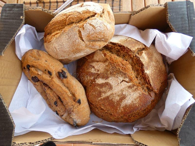Tre pagnotte di pane artigianale fotografia stock