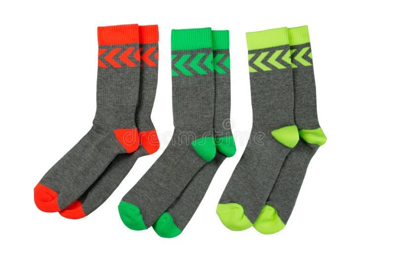 Tre paia dei calzini colorati fotografia stock libera da diritti