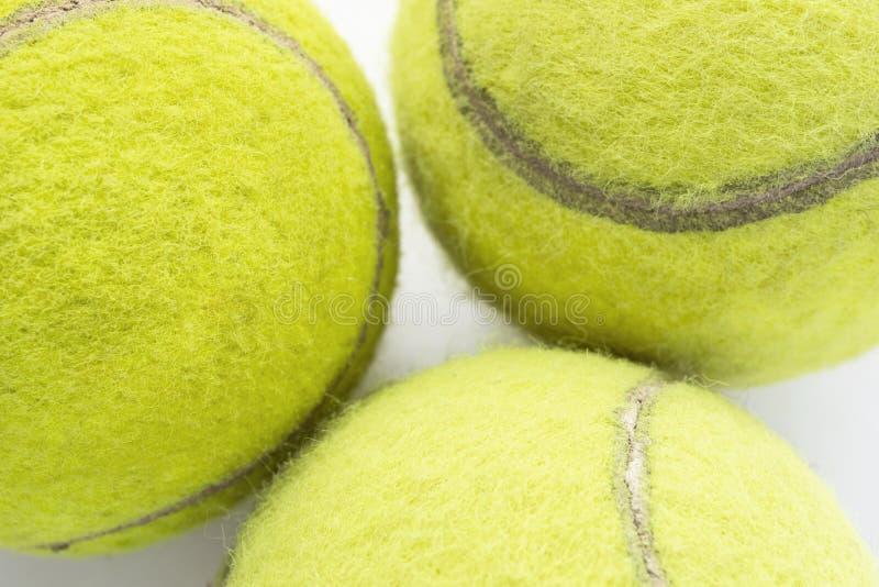 Tre palline da tennis fotografia stock
