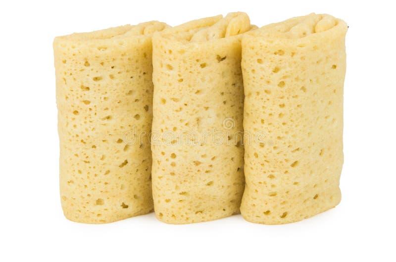 Tre pancake con il riempimento fotografia stock