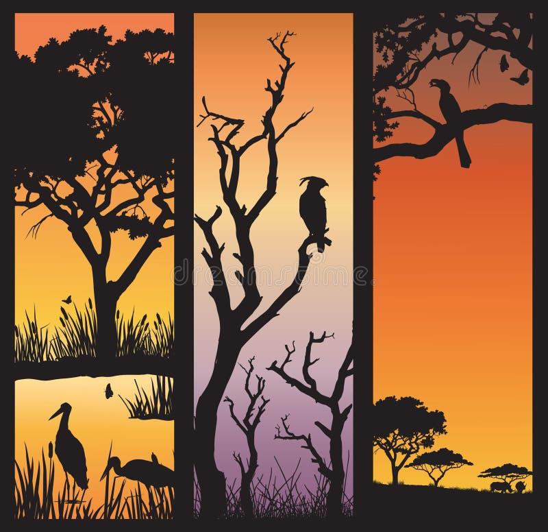 Afrikanska natursilhouettes vektor illustrationer