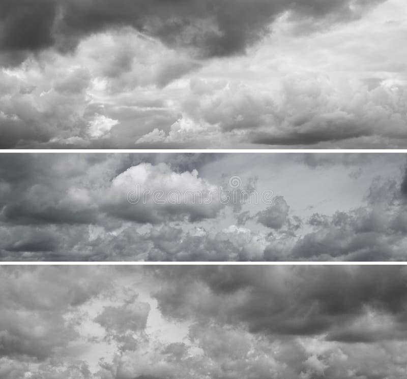 Tre panorami differenti del cielo grigio nuvoloso immagini stock libere da diritti