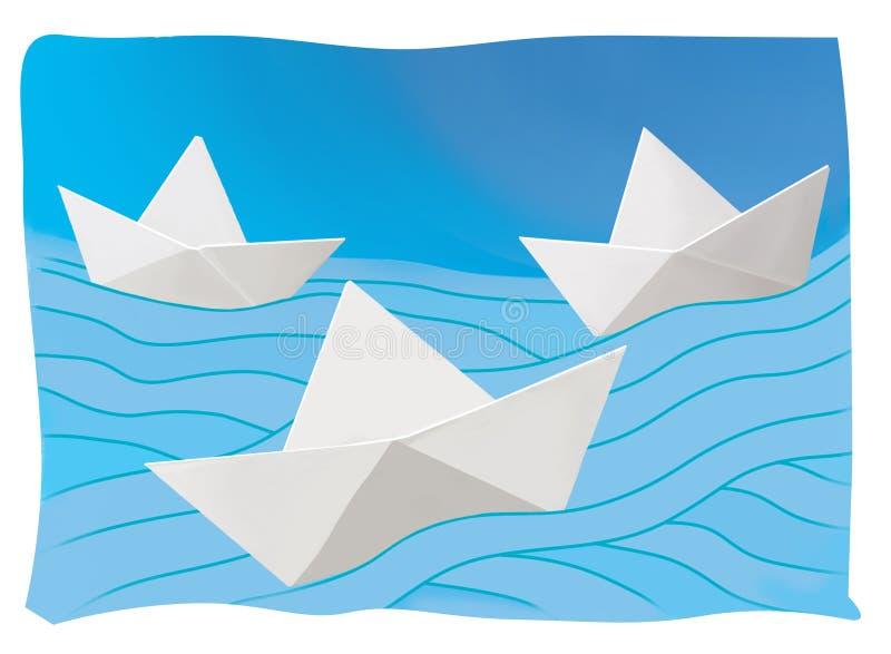 Tre pappers- fartyg på de blåa vågorna resa meddelande Illustrativ åtlöje upp royaltyfri illustrationer
