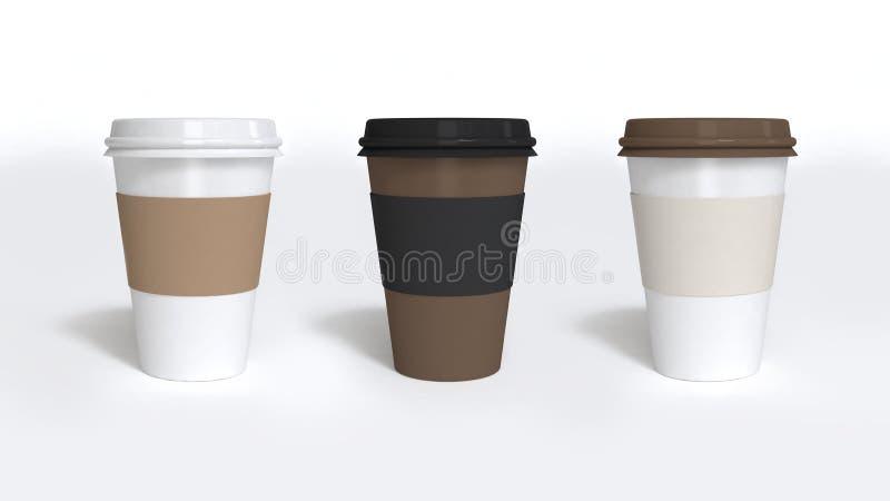 Tre pappers- rende för kaffekoppar 3d royaltyfri illustrationer