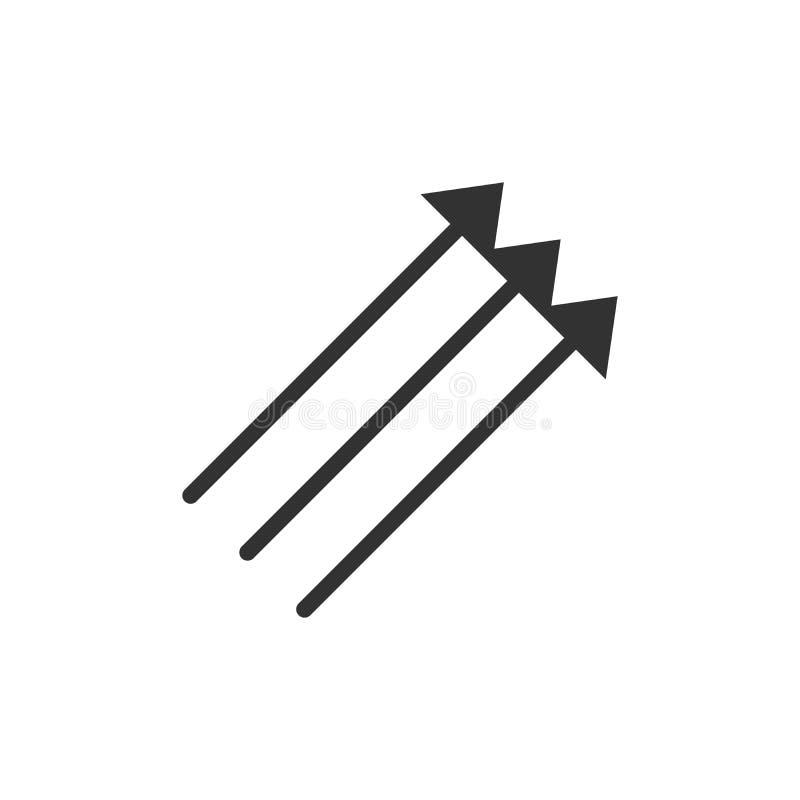 Tre parallella vertikala pilar i svart färg som pekar upp 45 grader Vektorillustration som isoleras på vit bakgrund royaltyfri illustrationer