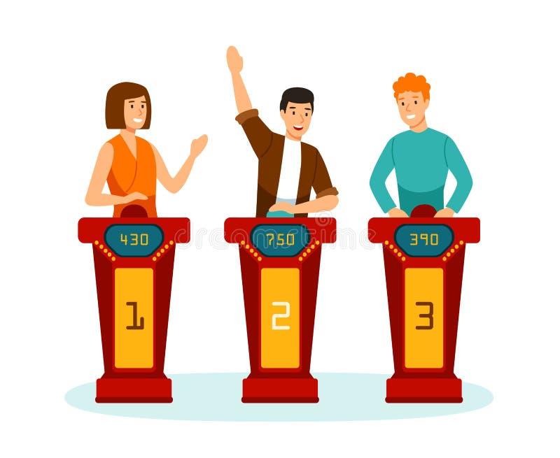 Tre partecipanti delle domande del quizshow della TV o dei puzzle di risposta di soluzione isolati su fondo bianco Uomini astuti  illustrazione vettoriale