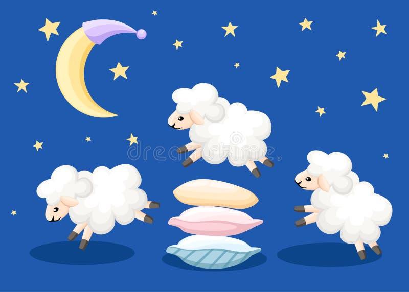 Tre pecore che saltano durante il tempo di sonno dei cuscini contano le pecore da insonnia su un fondo blu con le stelle e il ill illustrazione di stock