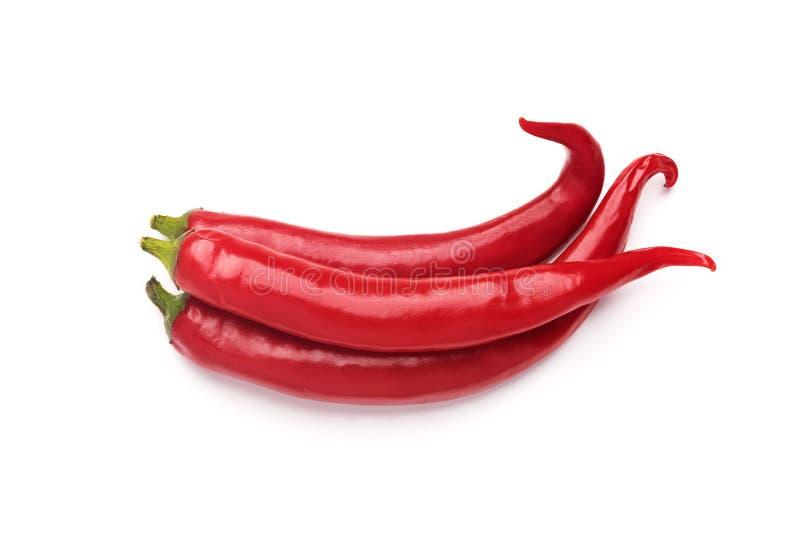Tre peppar för varm chili som isoleras på vit bakgrund arkivfoton