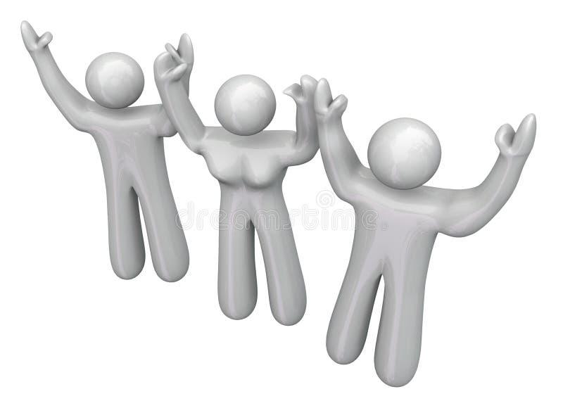 Tre 3 persone che incoraggiano Joy Happy Celebration Party illustrazione di stock
