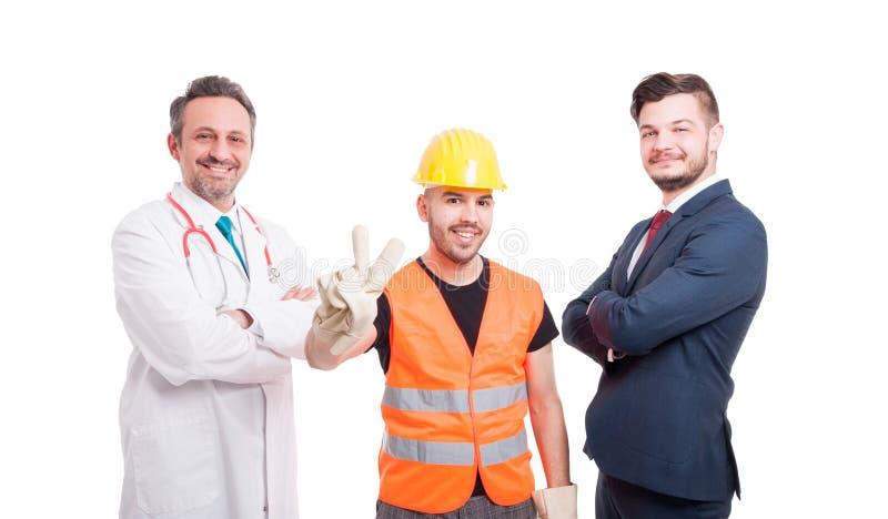 Tre personer och deras olika ockupationer arkivfoto