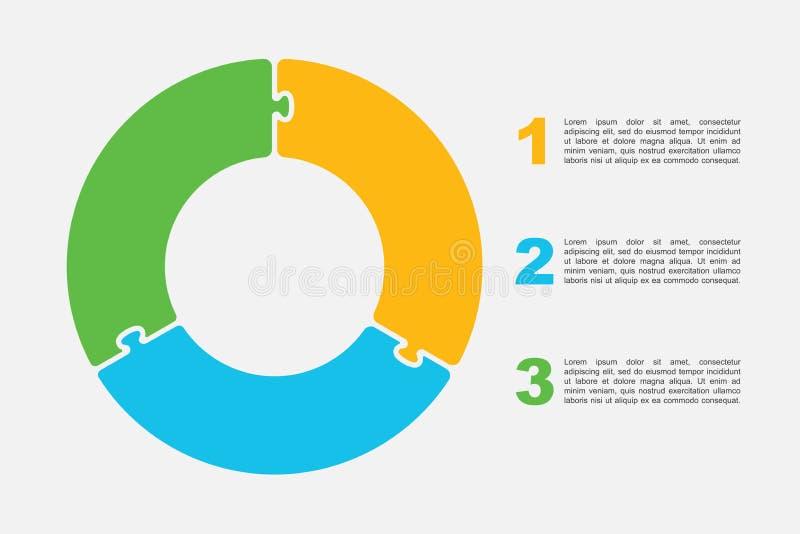 Tre pezzi imbarazzano il grafico di informazioni del diagramma dei cerchi illustrazione vettoriale