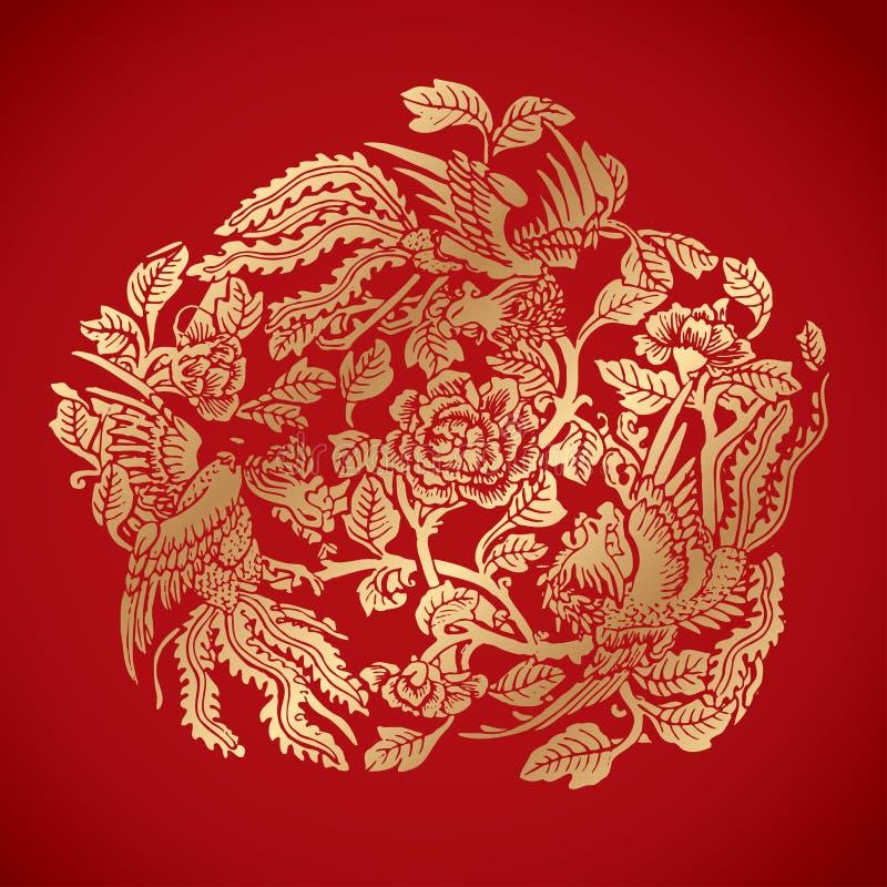 Tre Phoenixes runt om kinesiska blommabeståndsdelar på klassiska röda lodisar arkivfoton
