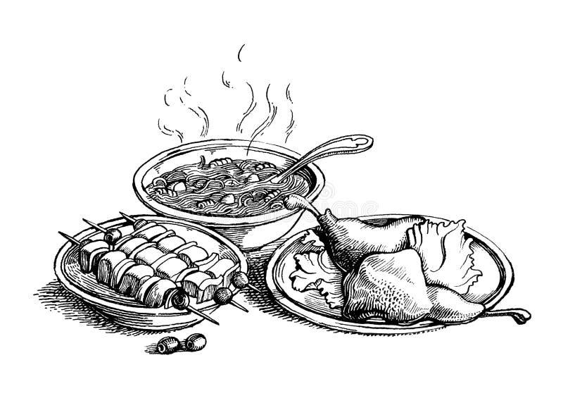Tre piatti royalty illustrazione gratis