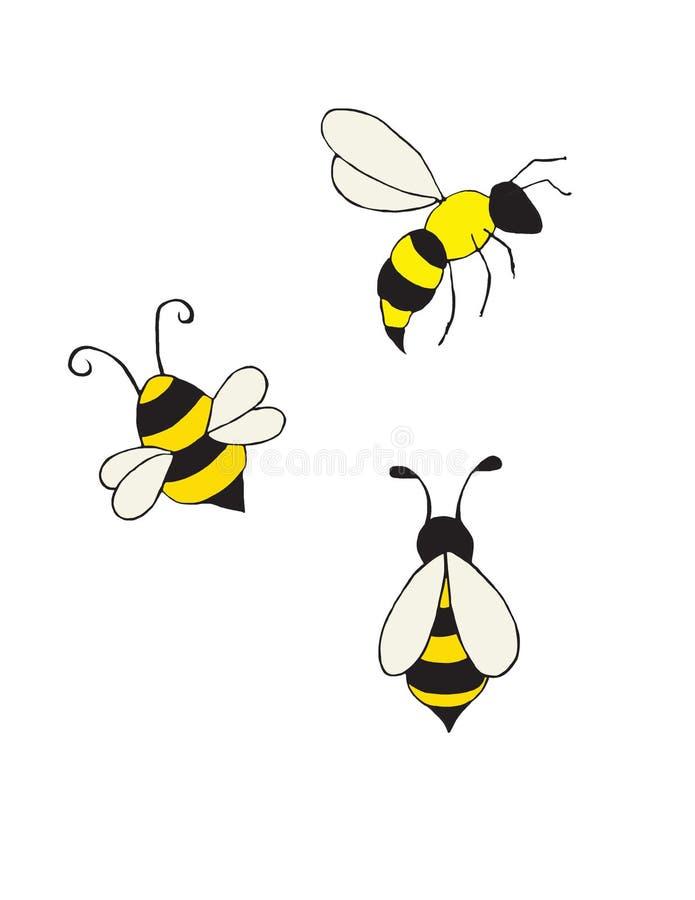 Tre piccole api gialle luminose illustrazione di stock