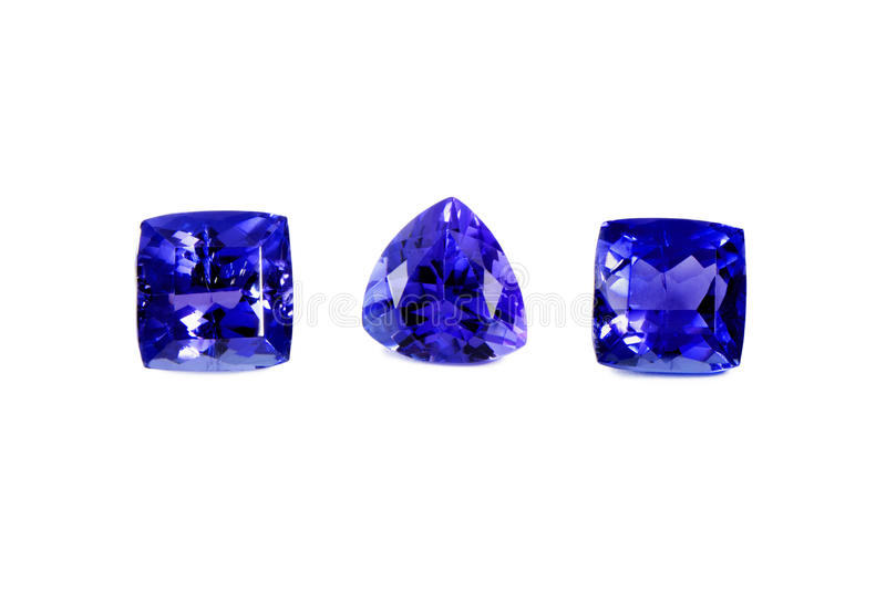 Tre pietre differenti di Tanzanite fotografie stock