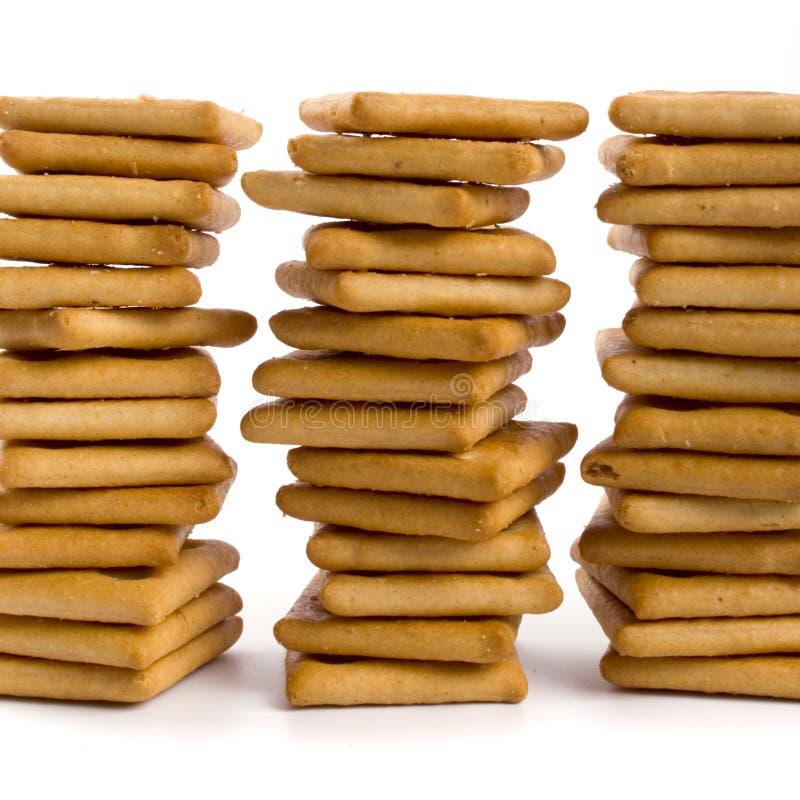 Tre pile di biscotto immagini stock libere da diritti