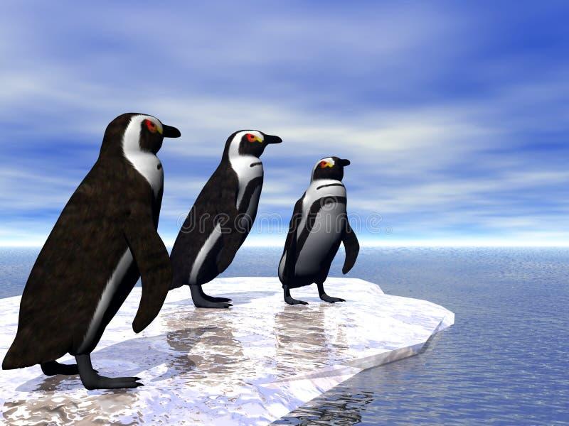 Tre pinguini illustrazione di stock