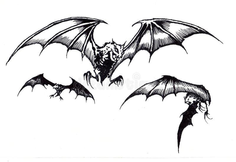 Tre pipistrelli spaventosi di Halloween in volo illustrazione vettoriale