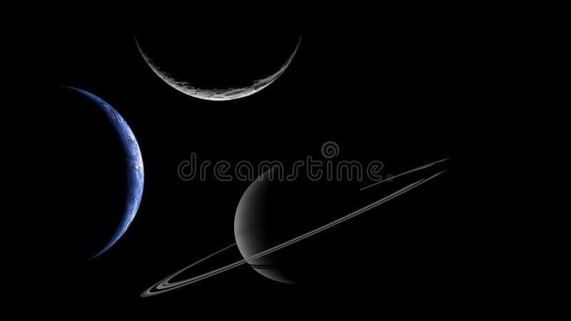 Tre planeter eller månar på stjärnabakgrund arkivfoton
