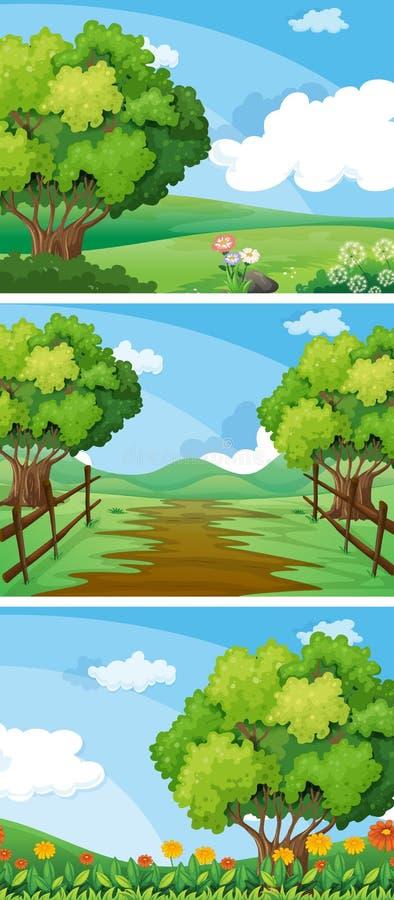 Tre platser av bygd med träd och spår royaltyfri illustrationer